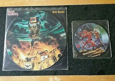 iron Maiden : Run to the Hills & Holy Smoke picture discs, great condition!