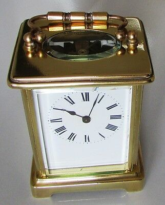 Carriage Clock Brass with Roman Numerals Lovely Antique Condition, Runs Well!!!!