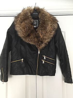 Girls river island Leather Look Jacket With Fur Collar Age 12yrs