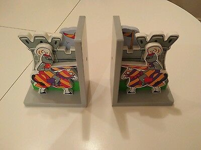 Children's Wooden Bookends - castle,knight and horse.