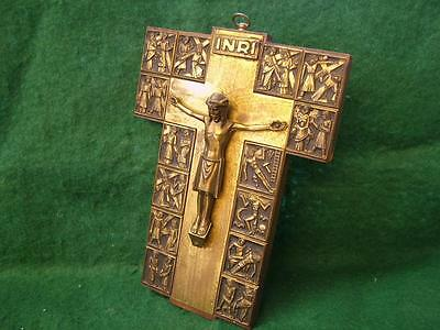 Vintage Brass & Wood Orthodox Style Crucifix Wall Plaque