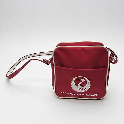 VTG Japan Airlines Red Pouch with Strap - Carry On Lunch Bag, Retro 70's
