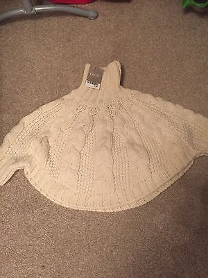 Baby Girls Knitted Poncho From Next Excellent Condition 1-2yrs BNWT