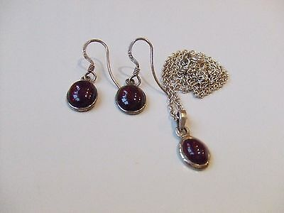 Sterling Silver Garnet Pendant and Earring Set
