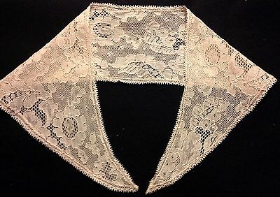 Antique Brussels Lace Embroidery on Net Collar Very Delicate Dainty Lace Hem,