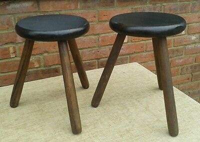 Pair of Vintage Wooden Milking Stools/Plant Stands
