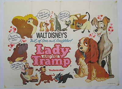 Lady and the Tramp Vintage 1970s Original Re-release UK Quad Disney Poster