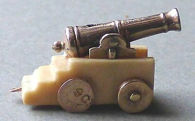 Antique Unusual Miniature Gold and Bovine Bone Cannon measures just 20mm