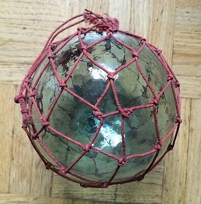 Vintage Glass Float Fishing Bouys in Red String Net Clear Glass Ball.
