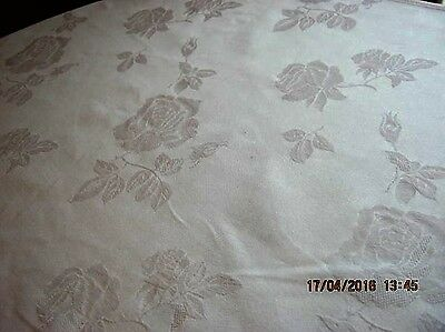 White Linen Table Cover Floral Design Embossed