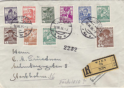 Austria to Sweden registered cover 1936 many stamps