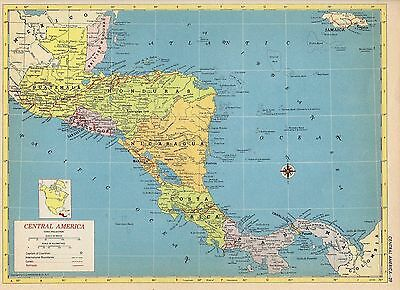 1953 CENTRAL AMERICA and WESTERN CANADA from Hammond Atlas 2 ORIGINAL maps A6