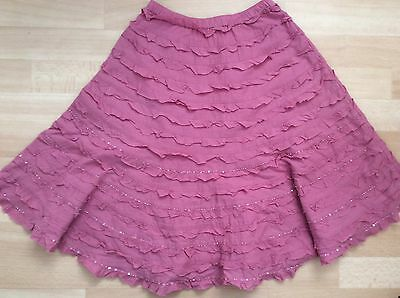 Girls Monsoon pink ruffle skirt age 8-10 years