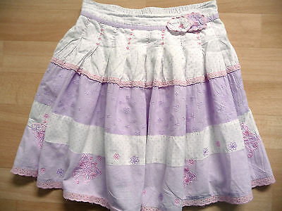 Girls lilac purple, pink & white cotton summer skirt age 5-6 years