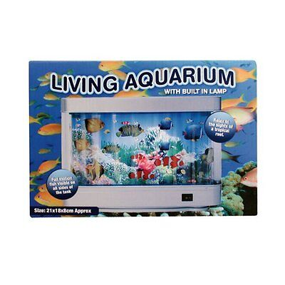Living Colourful Animated Aquarium Moving Fish Tank With Built In Lamp Light