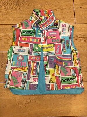 Vintage Retro Sleeveless 80s Jacket Waistcoat With Signs
