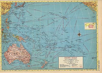 1953  PACIFIC OCEAN and NORTH AMERICA from Hammond Atlas 2 ORIGINAL maps A6