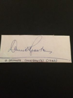 Dennis Brookes Northants/England Cricketer - autograph on paper laid to card.