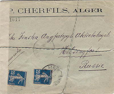 France Algeria to Russia interesting censored registered cover 1914 WW1 wax seal