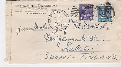 USA to Finland nice pictorial hotel cover 1939 New Orleans prexies