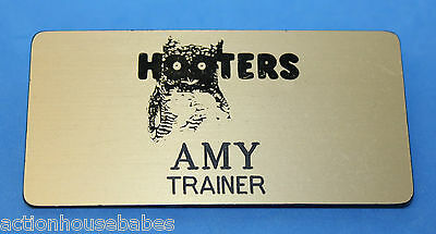 Hooters Restaurant Girl Amy Gold Name Tag (Pin)  Trainer