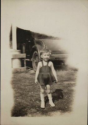 Original Photograph 1920s b&w candid Child in front of Old Ford