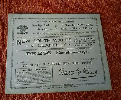 Rare Welsh Rugby Union memorabilia New South Wales v Llanelly Press ticket 1927