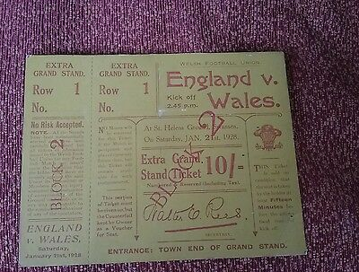 Rare Welsh Rugby Union memorabilia. Unused England v Wales ticket 1928