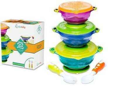Stay Put and Spill Proof Suction Baby Bowls Feeding Set- Bonus Fork and Spoon...