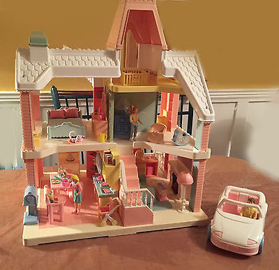 Vintage Playskool Dream Dollhouse 1994 TV Stand and Lamp