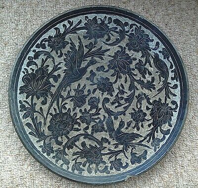 Mashad Persian Stoneware Carved Plate Wall Hanging Antique Middle Eastern