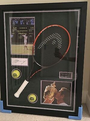 Signed Andy Murray Wimbledon framed photo and racket