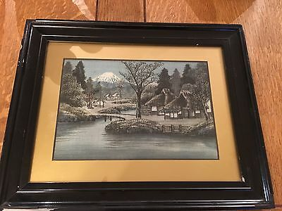 Antique Japanese handmade silk painting/picture - lacquered frame - Mount Fuji