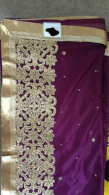 Designer Bollywood Asian Indian Purple Sari with Gold  Border NEW! & Blouse