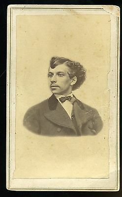CDV Photo of Young Man with Odd Hair Style by C H Irish of Adrian MI
