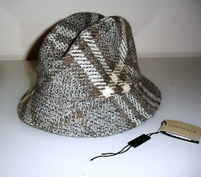 Black Friday auction! Unisex Authentic BURBERRY Light Grey Wool Bucket Hat GREAT