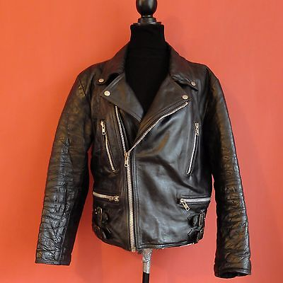 Biker Jacket Leather Vintage 1970's (Size M)