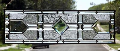 "•JUST ELEGANT •Beveled Stained Glass Window Panel • 36 ½""x10 ½""-COA"