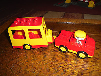 lego duplo car and caravan set with lady driver