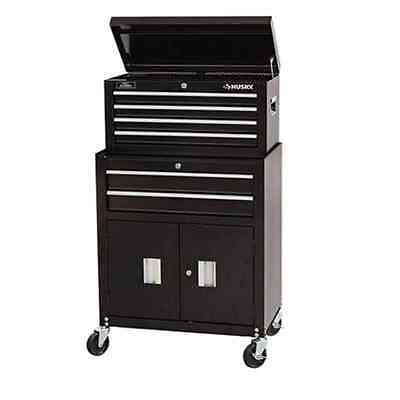 HUSKY 26 in. 6 DRAWER BLACK METAL TOOL CHEST ROLLER STORAGE CABINET TOOL BOX