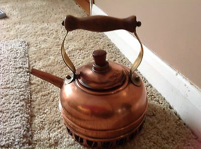 Vintage Kettle Copper With Brass Handle And Wood