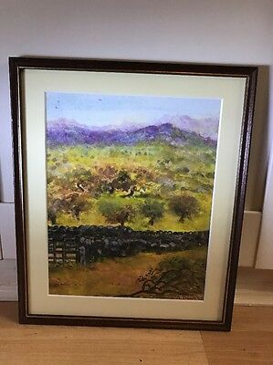 Lovely Signed Watercolour Painting Of Landscape In Wood Frame