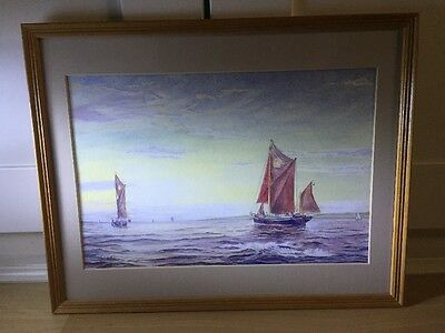 Beautiful Signed Watercolour Painting Of Sailing Barges In Wood Frame