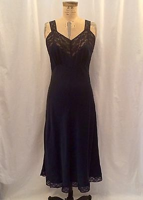 Vintage 1960's Navy Blue Silk And Lace, Full Slip, Dress