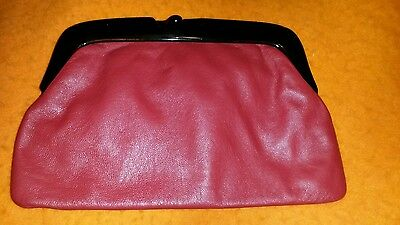 Vintage 1980's Red Leather Clutch Bag Made In Italy