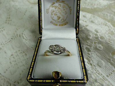 Vintage 18ct Gold & Platinum Three Stone Diamond Ring,0.20ct Size K
