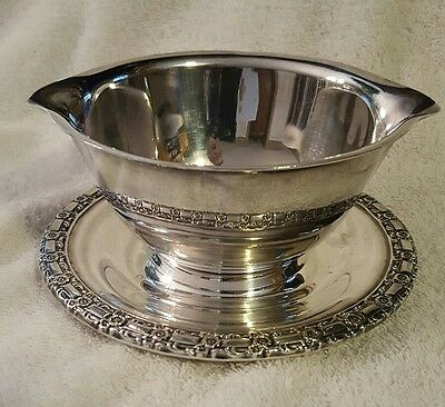 Ornate Silver Plated Bowl with Attached Underplate.  Possibly a Gravy Bowl.