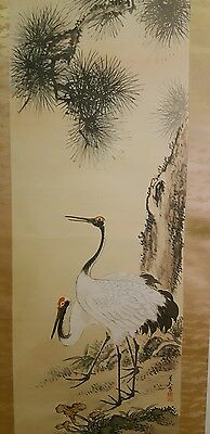 Japanese Ink Wash Watercolor Scroll Painting Signed