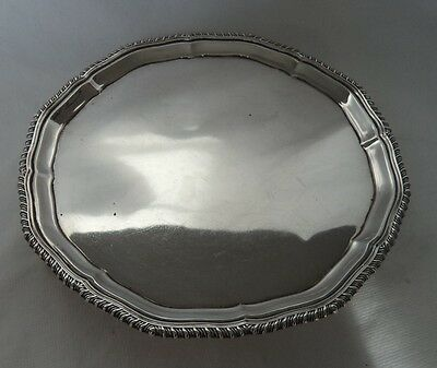 Heavy 400 Gram 1937 Unengraved Sterling / Solid Silver Salver / Tray