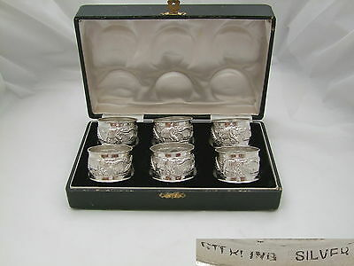 RARE CASED SET of 6 STERLING SILVER NAPKIN RINGS c 1930
